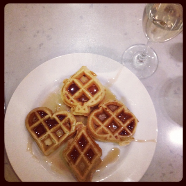 Poker waffles and champagne for breakfast!  AKA Breakfast of champions.